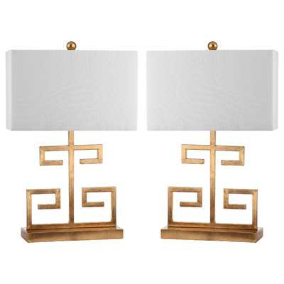 "Greek Key 24"" H Table Lamp with Rectangular Shade - Wayfair"