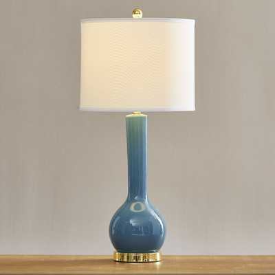 "Mae Long Neck 30.5"" H Table Lamp with Drum Shade - Marine Blue - Wayfair"
