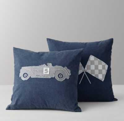"Vintage race day appliqué pillow cover & insert, 19"" sq., Blue - RH Baby & Child"