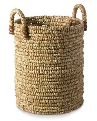 Woven Seagrass Basket with Leather - Large - Williams Sonoma