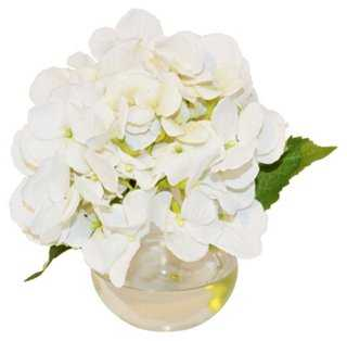 "8"" Hydrangea in Bubble Vase, Faux - One Kings Lane"
