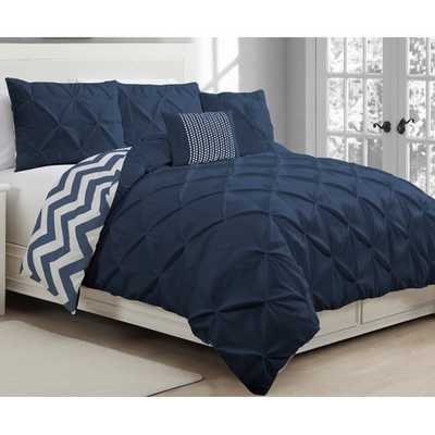 Ella Pinch Pleat 5 Piece Reversible Duvet Cover Set - Navy, Queen - AllModern
