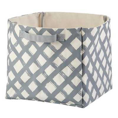 Grey Crisscross Cube Bin - Land of Nod