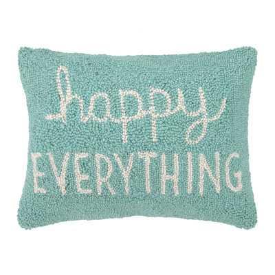 "Happy Everything Hook Wool Lumbar Pillow - 12"" H x 16"" W - Polyester/Polyfill - Wayfair"