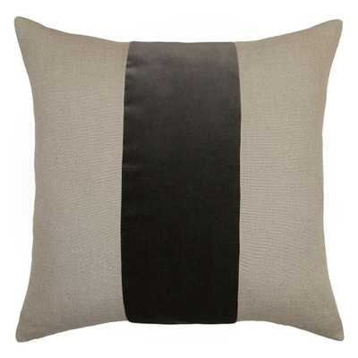 "Ming Linen Metal Velvet Band Pillow- 26"" x 26""- Feather Down Insert - Candelabra"