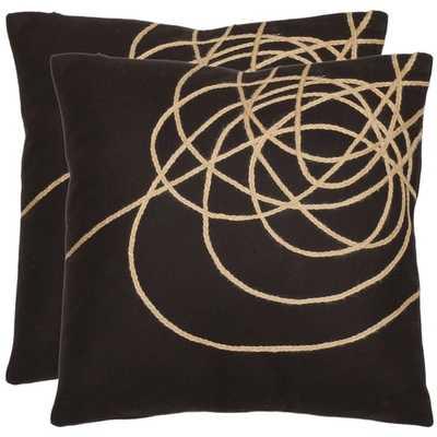 Safavieh Swirls 18-inch Brown/ Tan Decorative Pillows - Set of 2 - Polyester Insert - Overstock