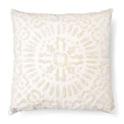 """Embellished Medallion Decorative Pillow Square Cream - Thresholdâ""""¢- 18"""" x 18- With Fill Insert - Target"""