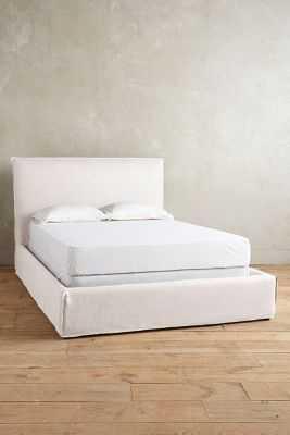 Belgian Linen Carlier Slipcover Bed - King - Oyster - Anthropologie