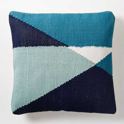 Chindi Colorblock Pillow Cover - Blue Teal - 20''Sq. - Insert Sold Separately - West Elm