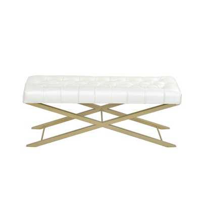Horizon Luxury Comfort Classic Creamy White Bonded Faux Leather Cross Bench - Overstock