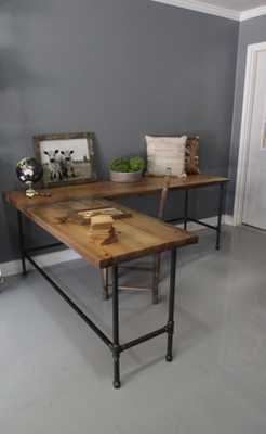 Industrial L Shaped Desk, Side 1 - Etsy