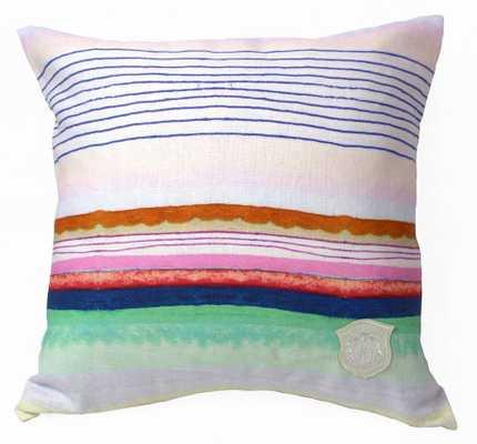 "Sugared Stripe Pillow - 18"" L X 18"" H - Feather/down insert - Domino"