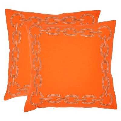 "Safavieh 2-Pack Metal Chain Link Pillow- 18"" x 18""- Orange- Polyurethane Foam  fill insert - Target"