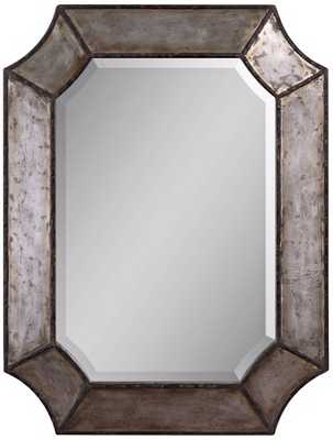 """Uttermost Elliot Burnished Aluminum 32"""" High Wall Mirror - Lamps Plus"""