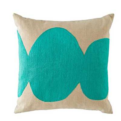 """Aqua Mod Botanical Throw Pillow Cover - 16""""W x 16""""H - Land of Nod"""