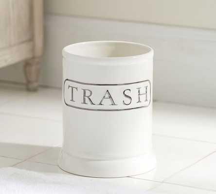 Ceramic Text Bath Accessories - WASTE BASKET - Pottery Barn