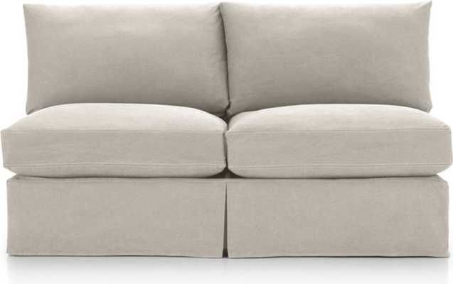 Lounge II Petite Slipcovered Armless Loveseat-Denim-Dove with Contrast Saddle Stitching - Crate and Barrel