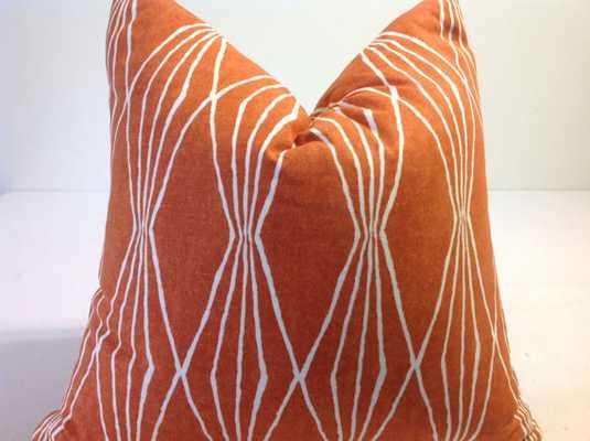 "Orange/Ivory Decorative Throw Pillow, 18""Sq, Insert sold separately - Etsy"