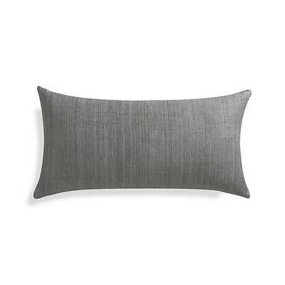 "Michaela Smoke Grey 24""x12"" Pillow with Feather-Down Insert - Crate and Barrel"