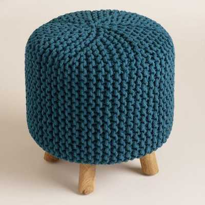 Blue Chunky Knit Nia Stool - World Market/Cost Plus