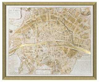 Real Gold Leaf Paris Map - One Kings Lane