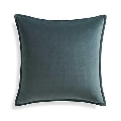 """Brenner Slate Grey 20"""" Velvet Pillow - Down-Alternative Insert - Crate and Barrel"""