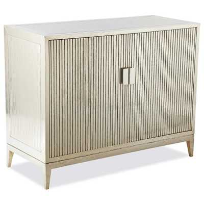 Lopez Hollywood Regency German Silver Ribbed 2 Door Cabinet - Kathy Kuo Home