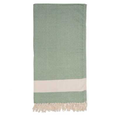 Turkish Cotton Blanket, Green - Domino