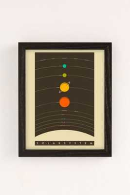 Jazzberry Blue Solar System Art Print-13X19-Framed - Urban Outfitters