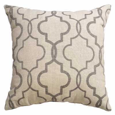 Ezra Tile Throw Pillow - 18x18 - Pewter - With Insert - Wayfair