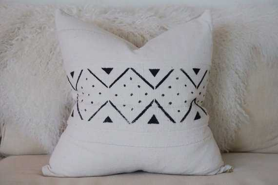 Authentic African Global Textile White / Black -20-Pillow Cover - Etsy