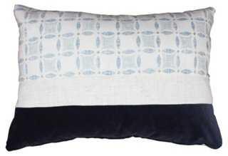Shey 14x20 Linen-Blend Pillow, Blue - Insert feather/down - One Kings Lane