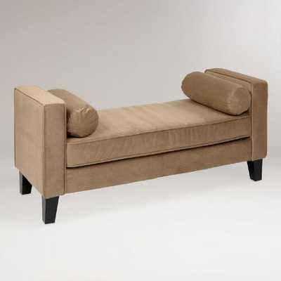 Coffee Velvet Taylor Bench with Bolsters - World Market/Cost Plus