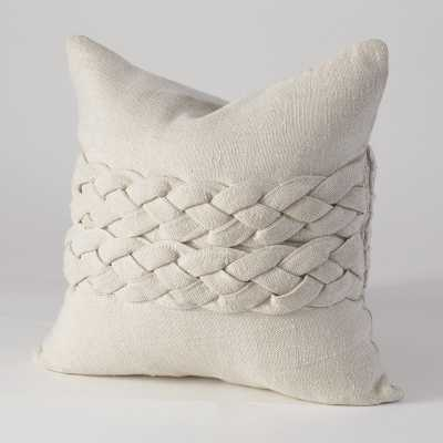 "Studio A Avola Braided Pillow- Ecru - 20""L x 20""W - Down fill insert - Candelabra"