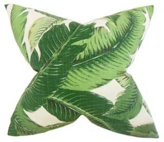 Palm Branch 18x18 Pillow - Green - Feather/down insert - One Kings Lane
