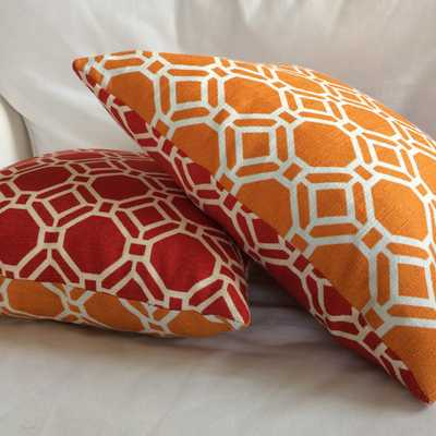Reversible Orange Red Throw Pillow Cushion Cover Decorative - Etsy