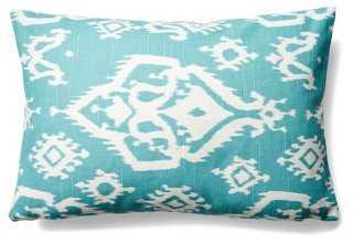 Ikat 12x18 Cotton Pillow, Turquoise - One Kings Lane