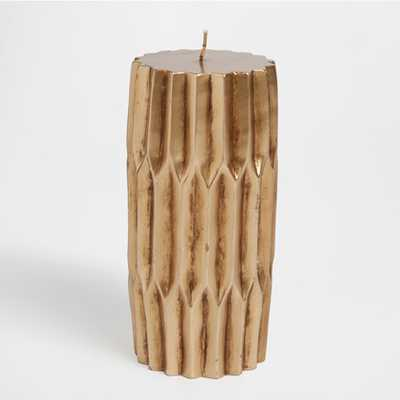 GOLDEN CYLINDRICAL CANDLE WITH FOLDS - Zara Home