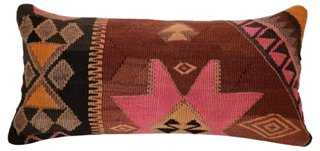 Turkish Kilim Cushion, Brown & Pink - 24x12, With Insert - One Kings Lane