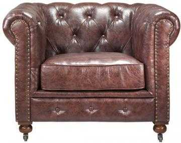 GORDON TUFTED CHAIR - Brown Bonded Leather - Home Decorators