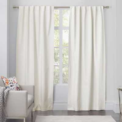 "Linen Cotton Curtain - Ivory - Unlined; 96""l x 48""w - West Elm"