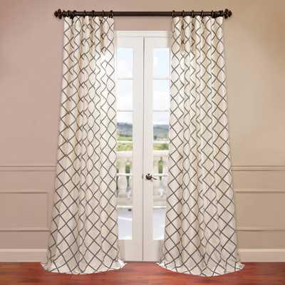 """Pavillion Flocked Faux Silk Single Curtain Panel, 108""""L - Wayfair"""