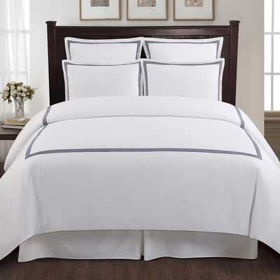 Echelon Home Three Line Hotel Collection Cotton Sateen 3-piece Duvet Cover Set - Overstock
