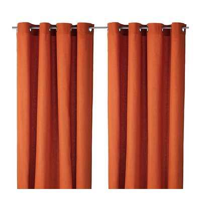 """MARIAM Curtains, 1 pair, orange - 98""""L - Ikea"""
