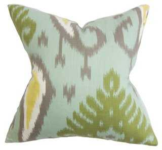 Ikat 18x18 Cotton Pillow, Multi - Feather/down insert - One Kings Lane