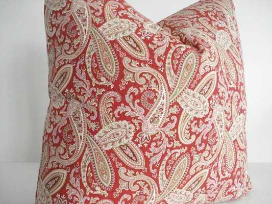 """Paisley Pillow Cover 18"""" x 18"""" insert sold separately - Etsy"""