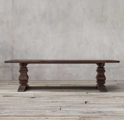 """SALVAGED WOOD TRESTLE RECTANGULAR EXTENSION DINING TABLE - 84""""-120""""L x 42""""W x 30""""H; - RH"""
