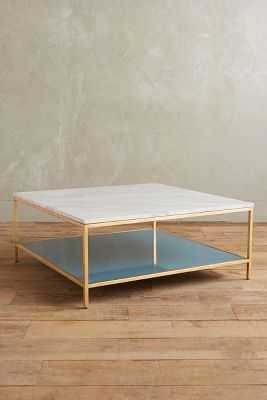 Lindley Marbled Coffee Table - White/Blue - Anthropologie