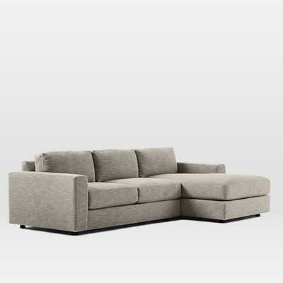 """106"""" Urban 2-Piece Right Chaise Sectional - Heathered Tweed, Cement - West Elm"""