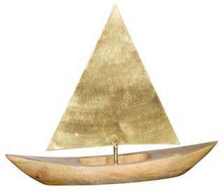 Brass and Wood Sailboat Figurine - One Kings Lane